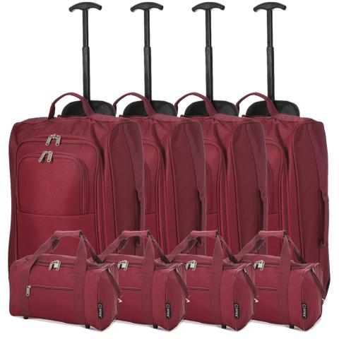 5 Cities (55x35x20cm) Lightweight Cabin Hand Luggage and (35x20x20cm) Holdall Flight Bag (x8 Set) - Wine