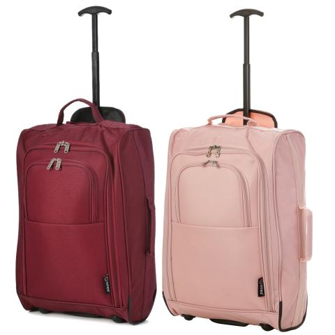 5 Cities (55x35x20cm) Lightweight Cabin Hand Luggage Set (Wine + Rose Gold)
