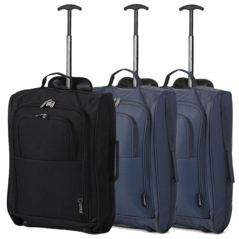 5 Cities (55x35x20cm) Lightweight Cabin Hand Luggage Set (Black + Navy x2)