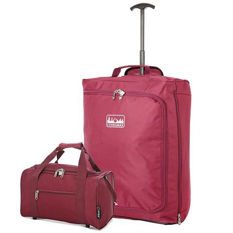 5 Cities (55x40x20cm) Lightweight Cabin Luggage Trolley Bag and (35x20x20cm) Holdall Flight Bag Set