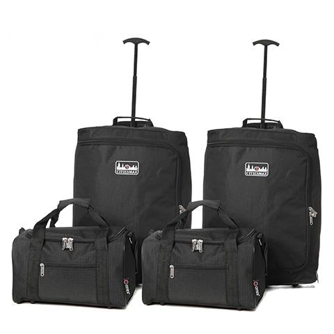 5 Cities (55x40x20cm) Lightweight Cabin Hand Luggage and (35x20x20cm) Holdall Flight Bag (x4 Set)