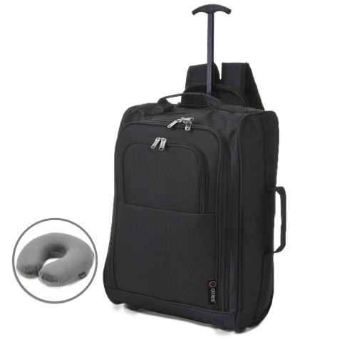 5 Cities (55x35x20cm) Lightweight Cabin Hand Luggage and Grey Neck Pillow