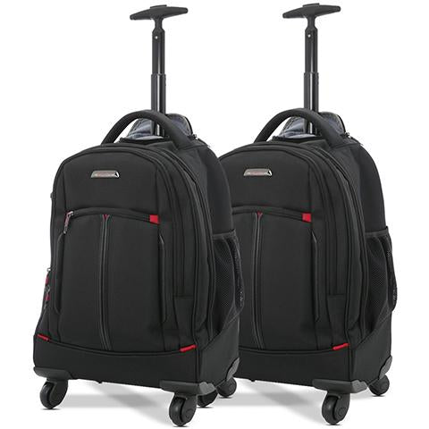 Aerolite (55x35x23cm) Executive 4 Wheel Mobile Trolley Backpack Business Hand Cabin Luggage (x2 Set)