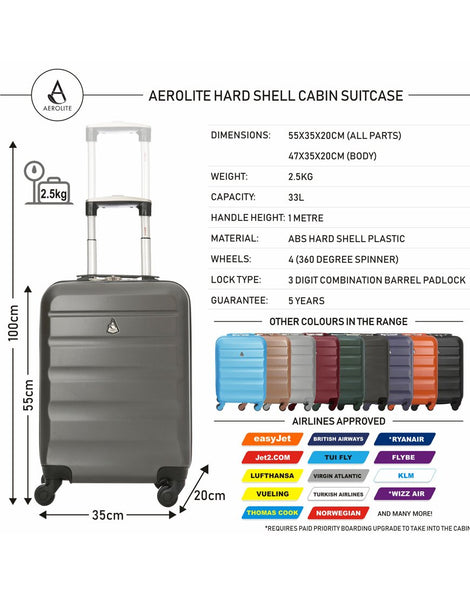 Aerolite (50x35x20cm) Lightweight Hard Shell Cabin Hand Luggage and 2nd Bag Holdall Set