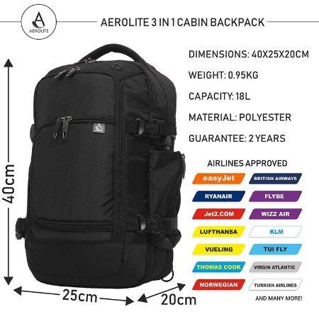 Aerolite (40x25x20cm) 3 in 1 Cabin Luggage Approved Flight Backpack