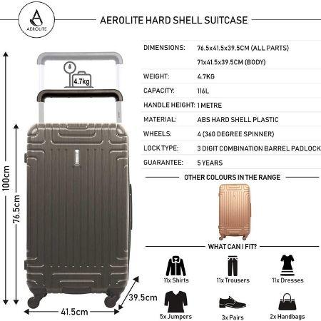 Aerolite Hard Shell Suitcase Luggage Set (Cabin x2 + Large)