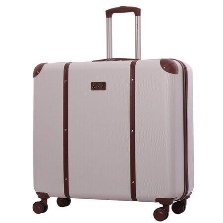 Aerolite (65.5x64x31cm) Vintage Trunk Style Hard Shell Suitcase - Cream