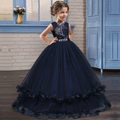 Navy & Burgundy Wedding Ideas - Flower Girl Dress - Navy