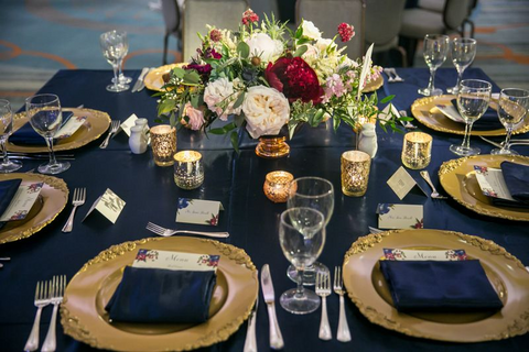 Burgundy & Navy Wedding Colors - Table Setting