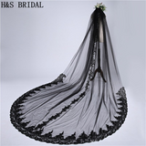 61403 - Black Lace Edged 3M Cathedral Veil