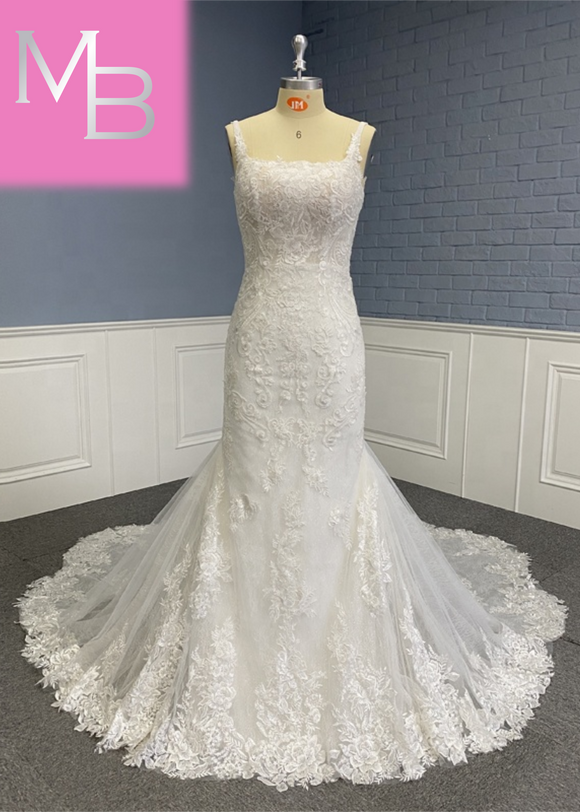 Bethany - Lace Backless Mermaid with Scalloped Train