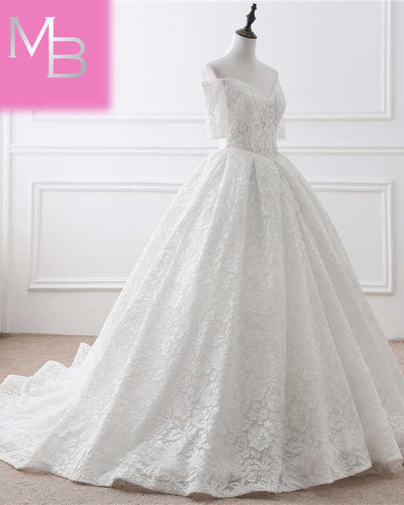 Cava - Lace Ball Gown with Off the Shoulder Half Sleeves