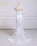 Jeanette - Single Sleeved Crystal Appliqued Mermaid Gown