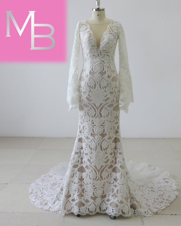 McKenna - Long Sleeve Boho Lace Mermaid Gown