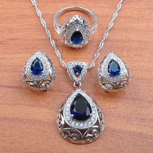 40601 - Blue Australian Crystal Jewelry Set with Ring