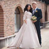 Valerie - Satin and Lace Half-Sleeve A-Line Gown