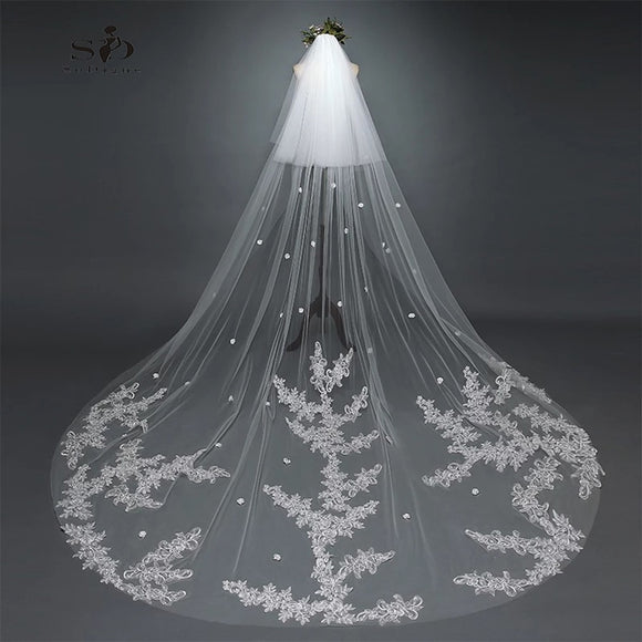 61903 - Cathedral Length Lace Appliqued Cut Edge Veil