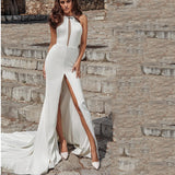 Lilah - Sexy High Slit Center Cut Out Mermaid Gown