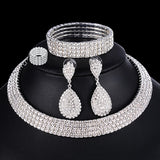41001 - Silver 1-4 Row Rhinestone Jewelry Set
