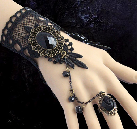 30401 - Black Lace Ringed Glove