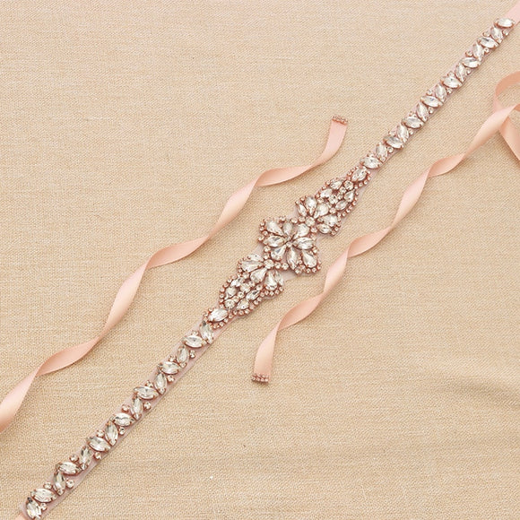 11001 - Rose Gold and Rhinestone Sash