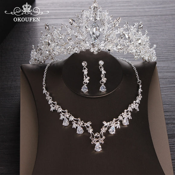 41504 - Three Piece Floral Jewelry Set with Tiara