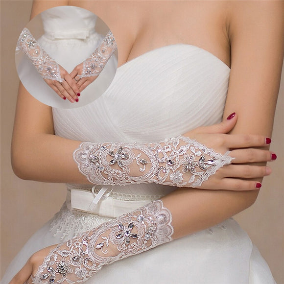 31901 - Lace and Rhinestone Wrist Gloves