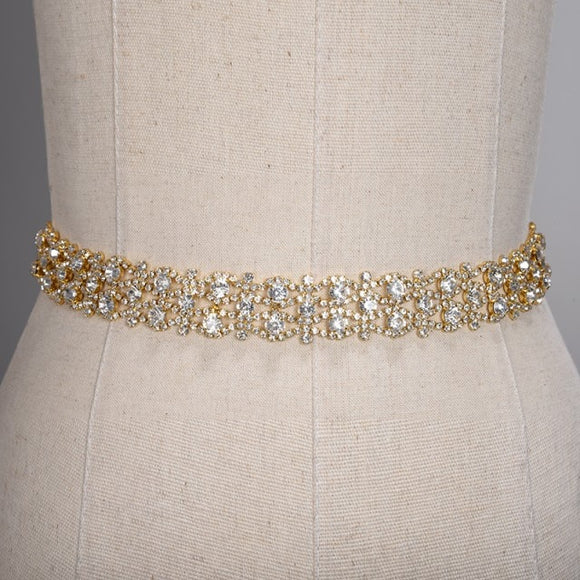 11305 - Silver or Gold Crystal Belt