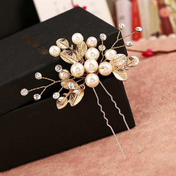 50701 - Gold Pearls & Leaves Hair Comb