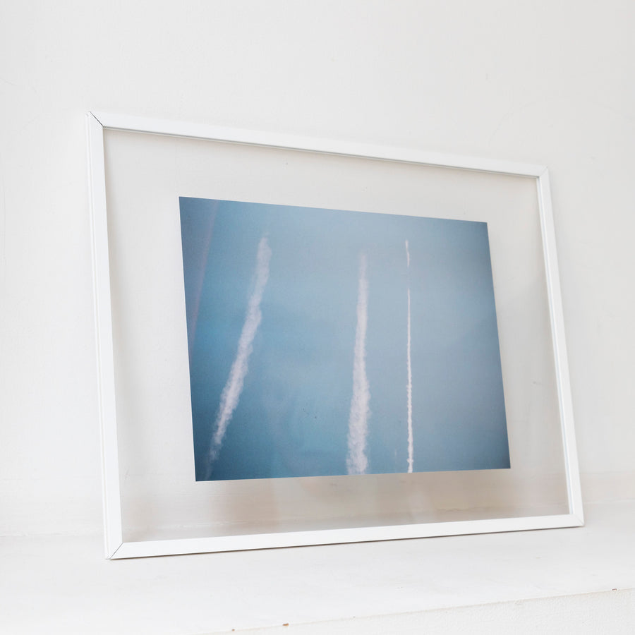Three contrails in Switzerland / A3 wh frame