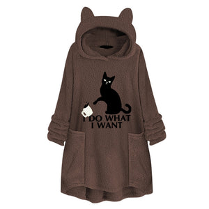 Fleece™ - I Do What I Want Fluffy Fleece Oversize Hoodie With Cat Ears