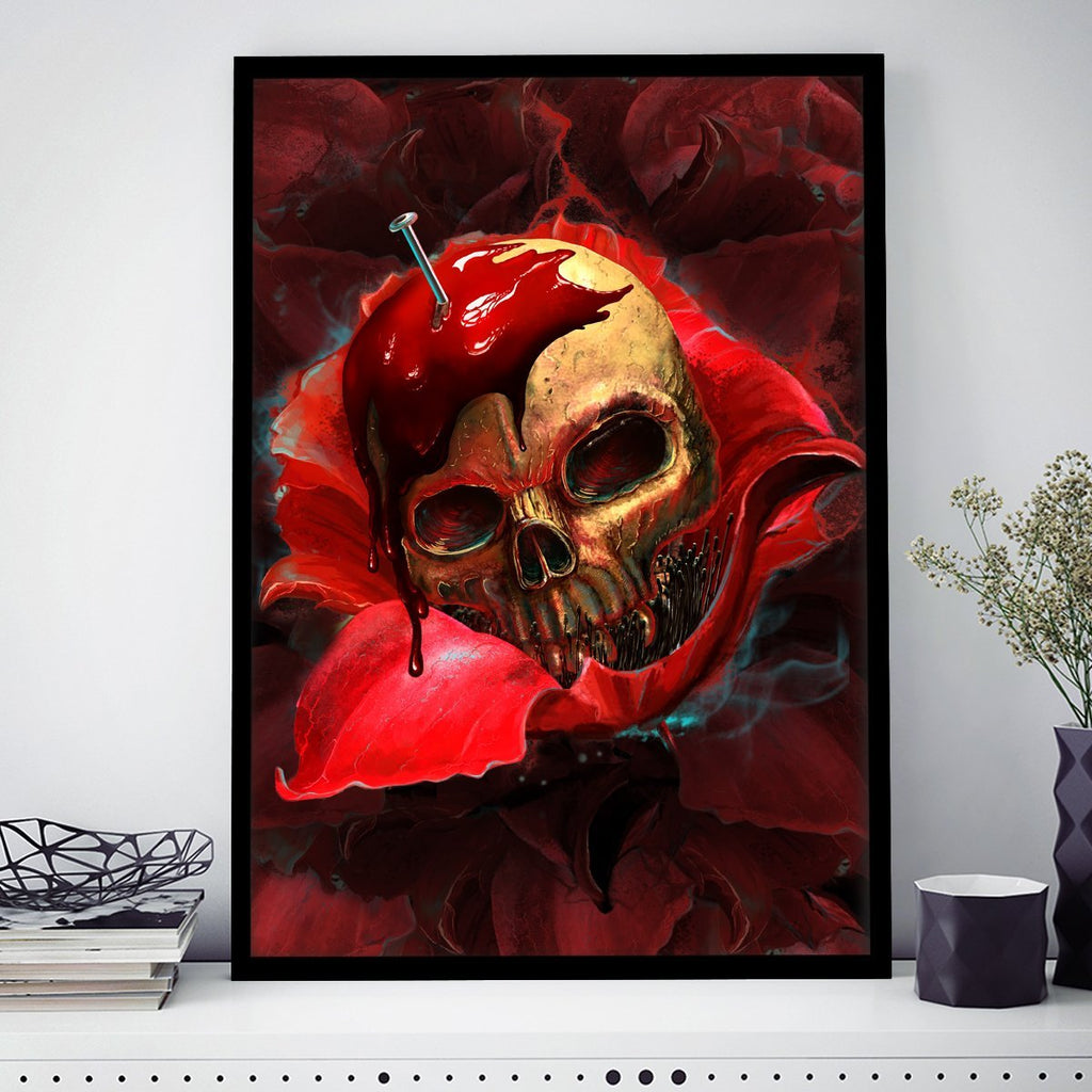 Skull In Red Bordered Frame Wall-Art Small / Black