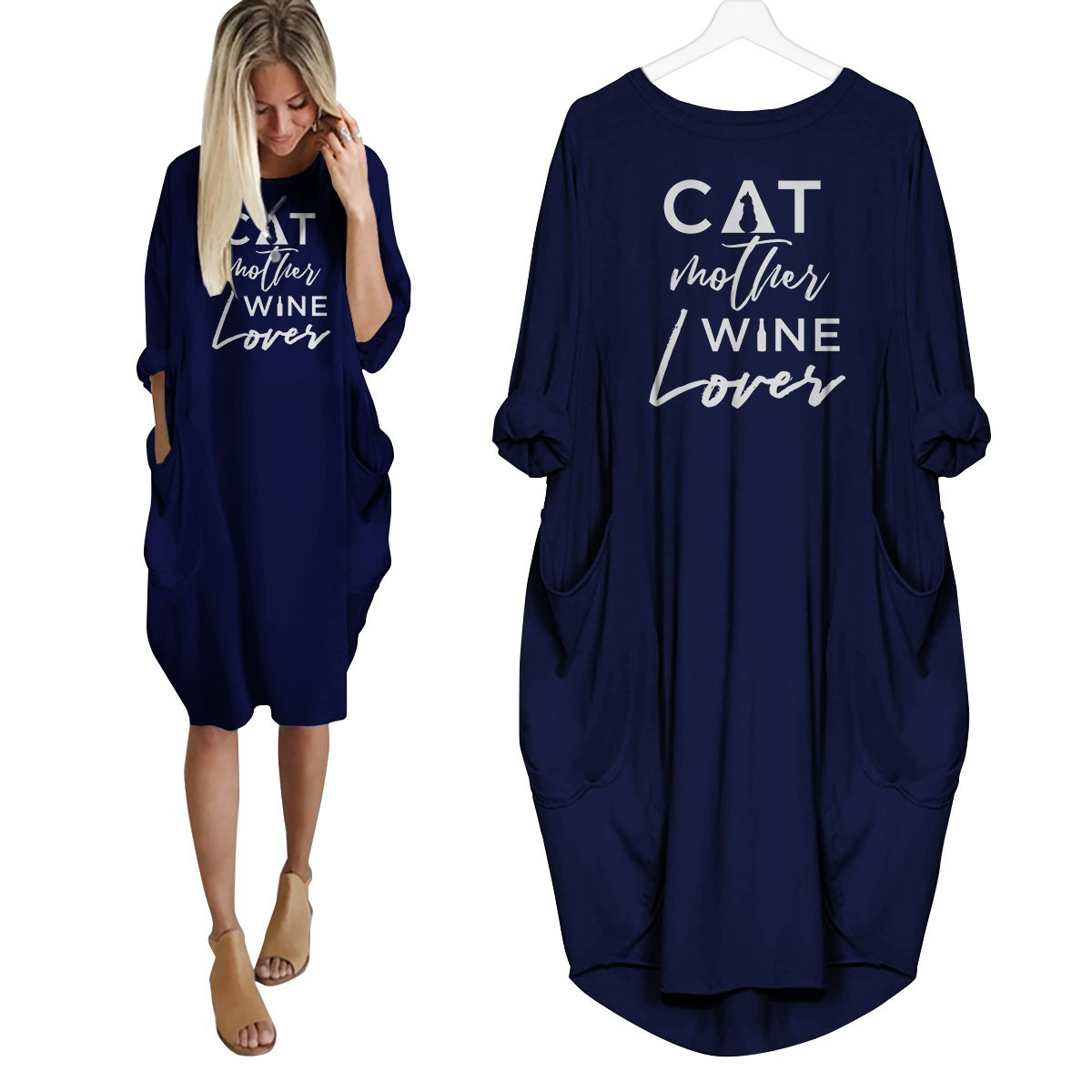 Cat Mother Wine Lover Dress Navy Blue / S