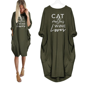 Cat Mother Wine Lover Dress Green / S