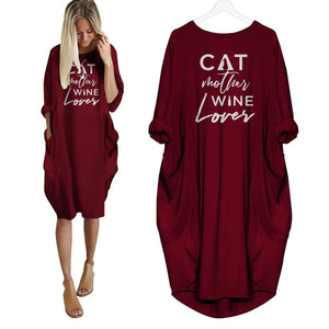 Cat Mother Wine Lover Dress Red / S