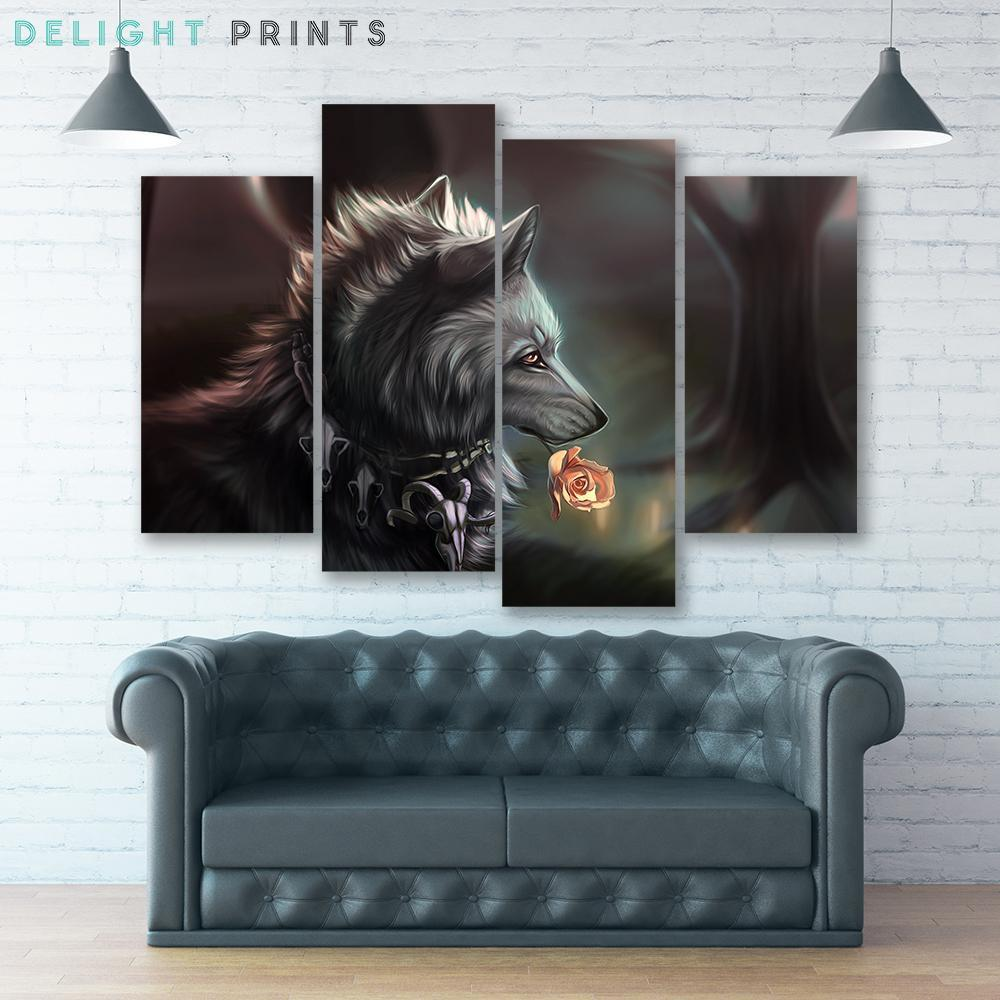 Dotd Wolf 4 Piece Canvas Small / No Frame Wall