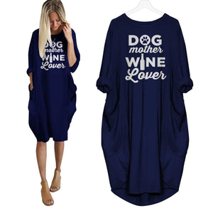 Dog Mother Wine Lover Dress Navy Blue / S