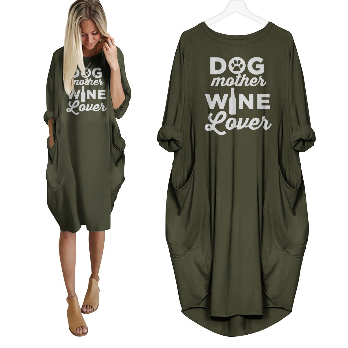Dog Mother Wine Lover Dress Green / S
