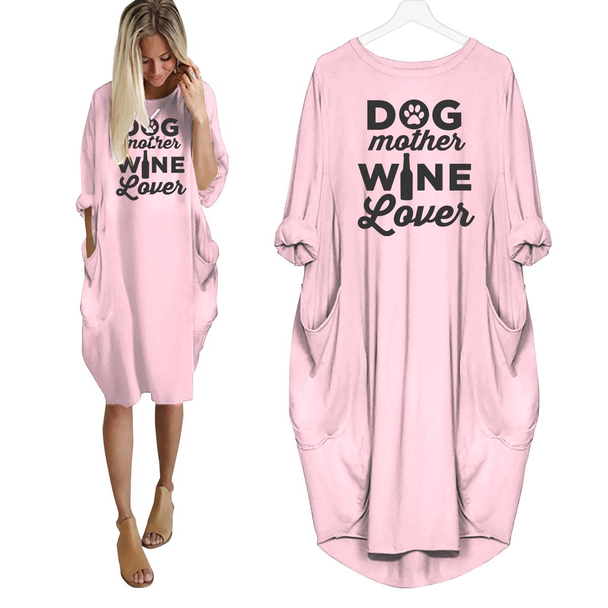 Dog Mother Wine Lover Dress Pink / S