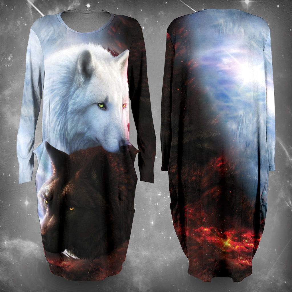 Yin Yang Fire Ice Wolves Dress