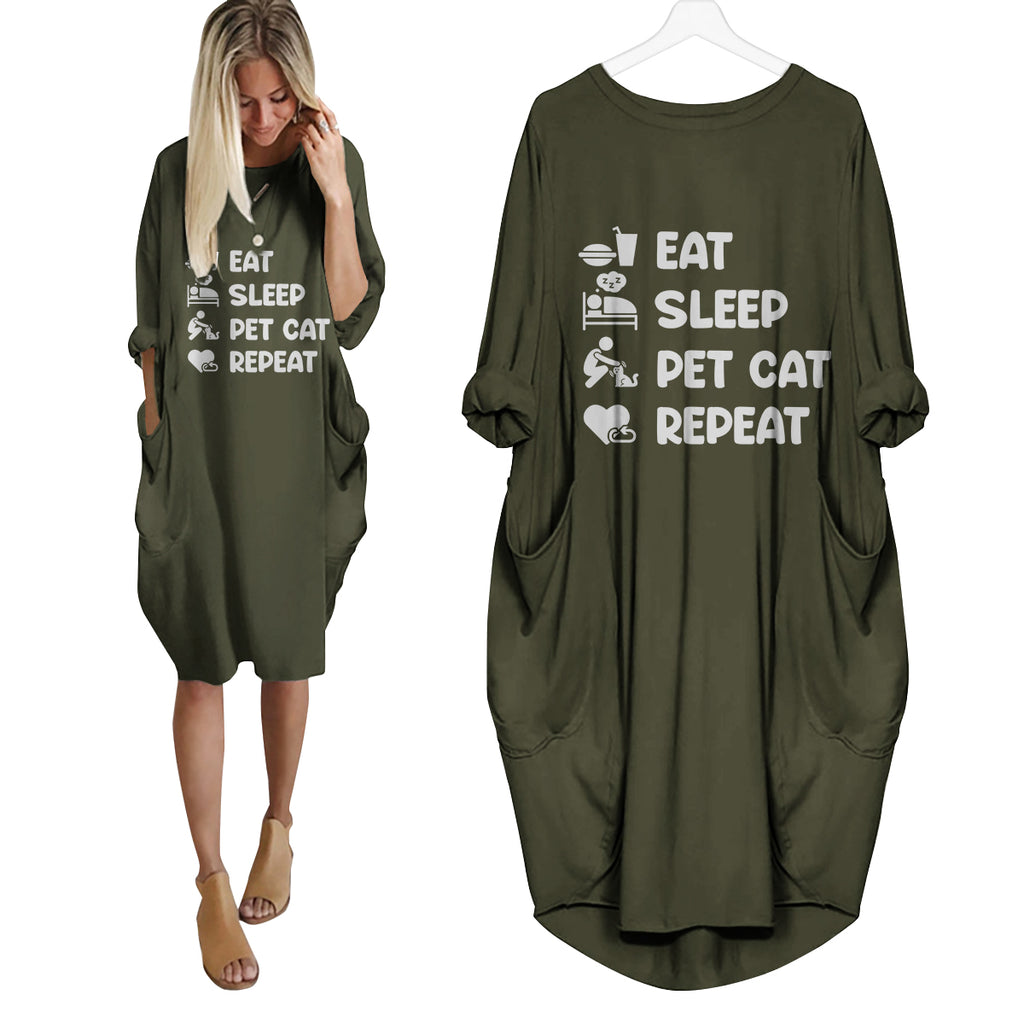 Eat Sleep Pet Cats Repeat Dress