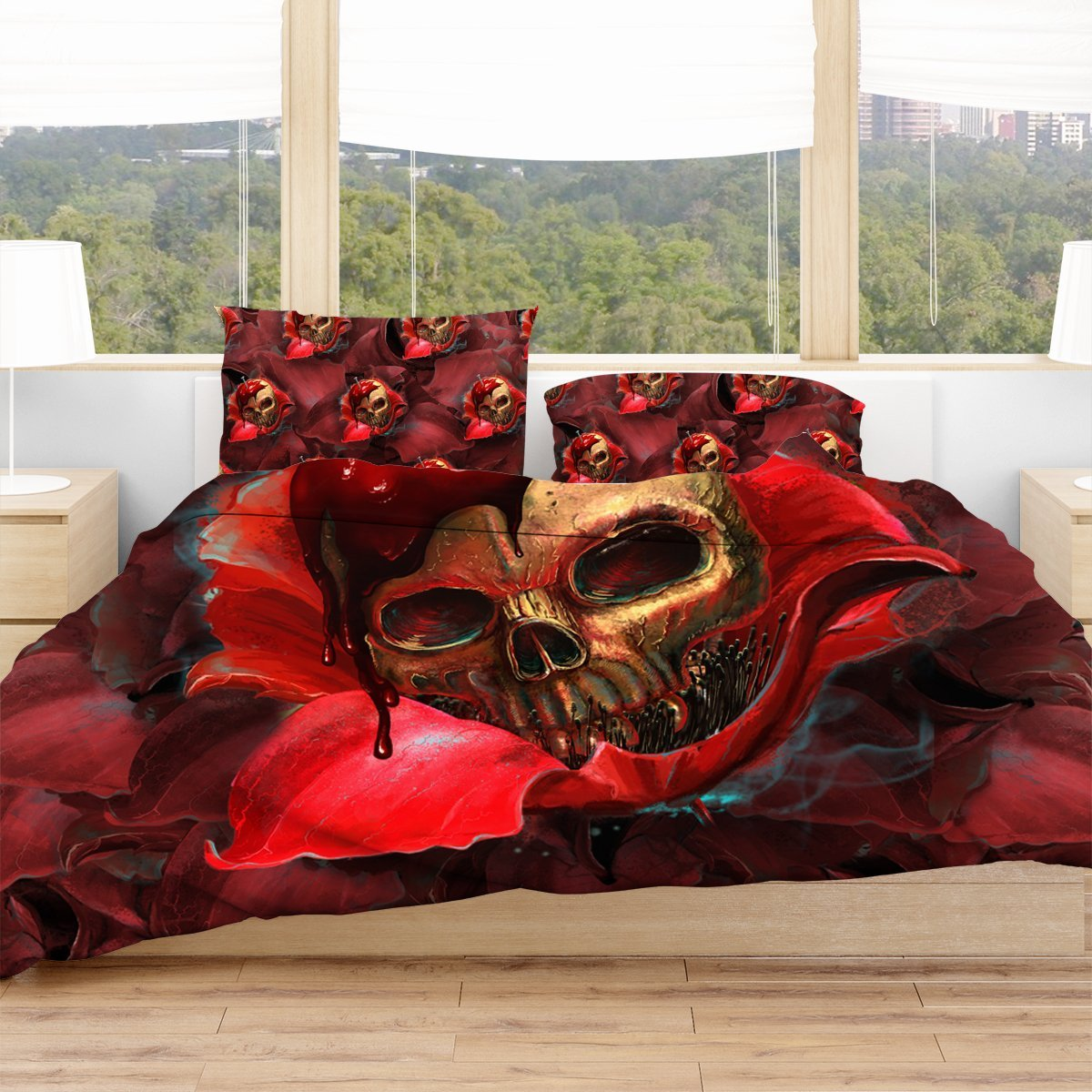 Skull In Red Bedding Set Twin Beddings