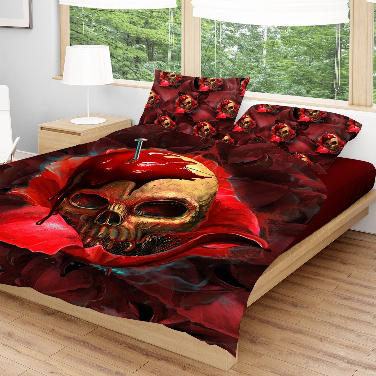 Skull In Red Bedding Set Beddings