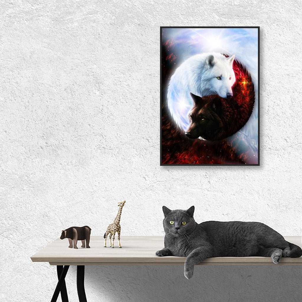 Yin Yang Fire Ice Wolves Bordered Frame Wall-Art Small / Black