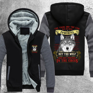Wolf Does Not Perform In The Circus Fleece Jacket Grey / S