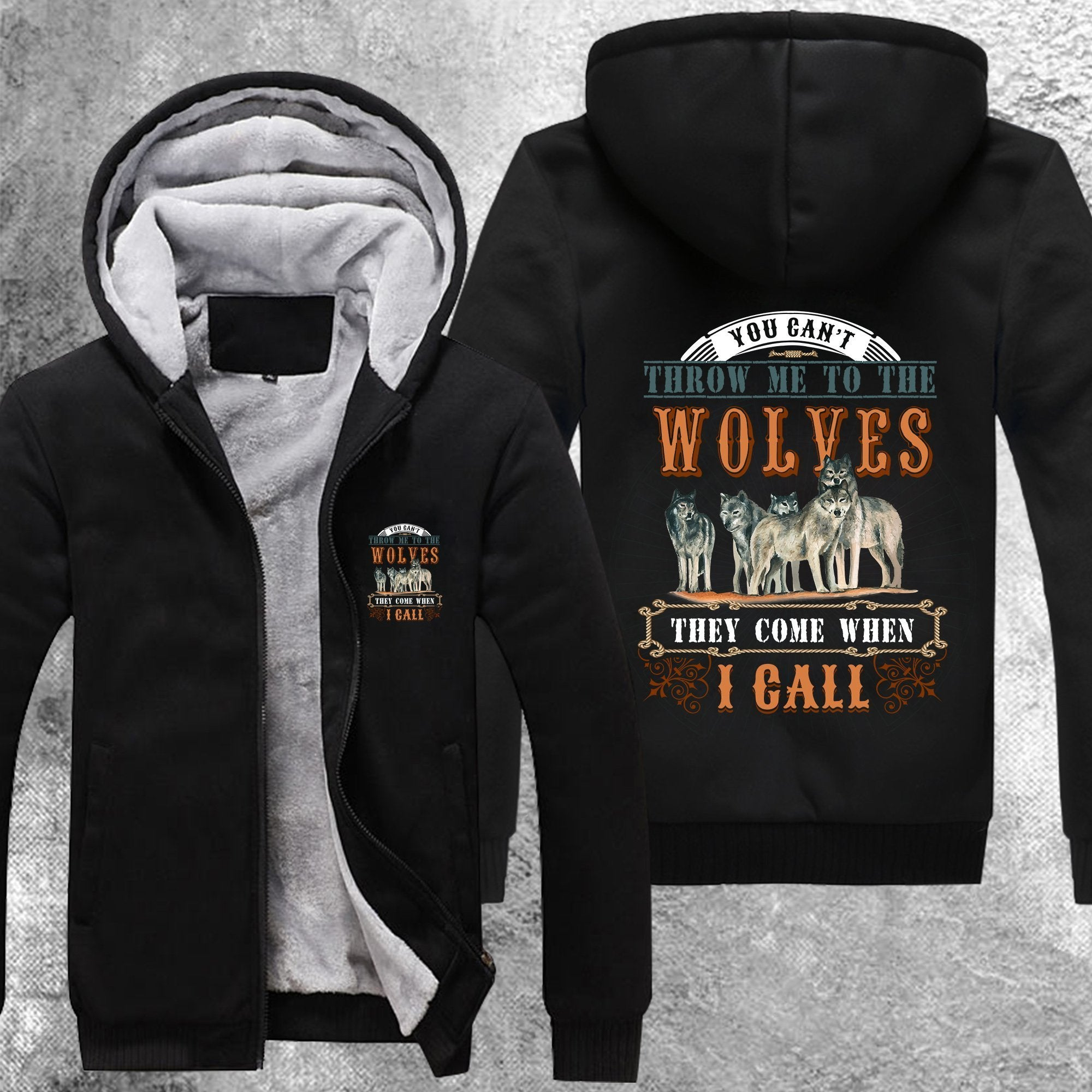 You Cant Throw Me To The Wolves Fleece Jacket Black / S