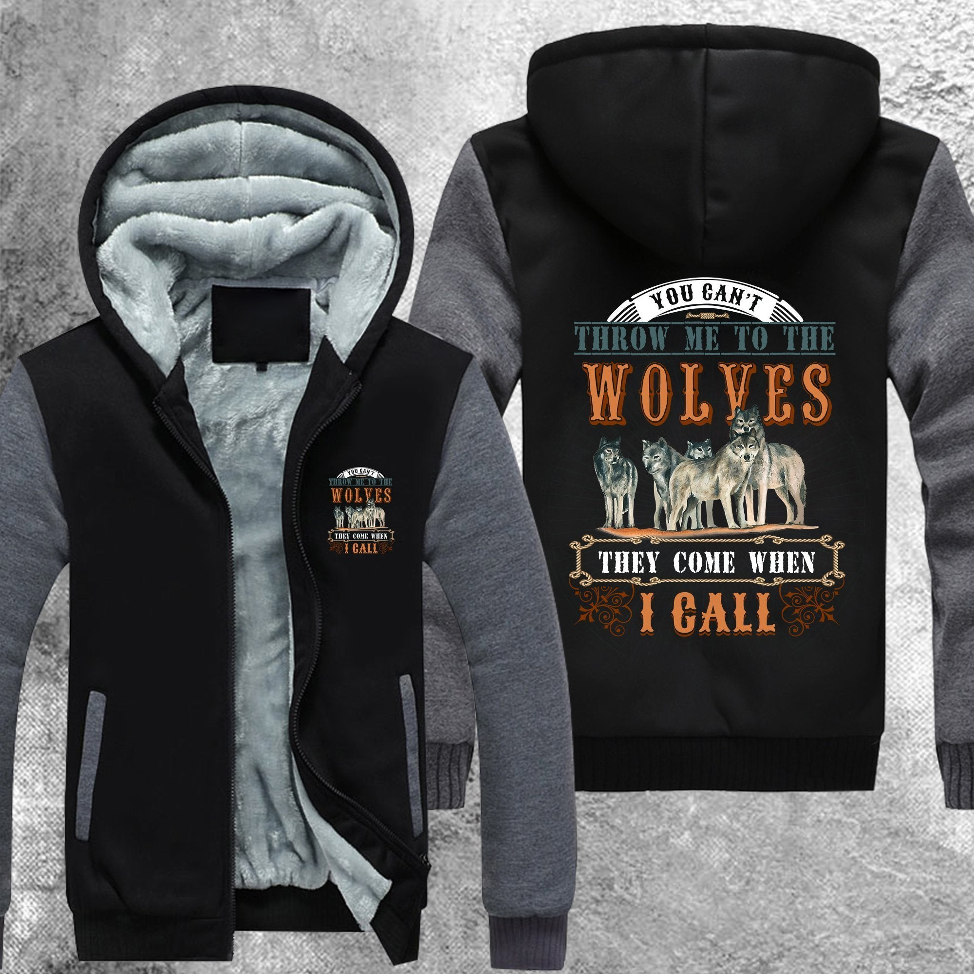You Cant Throw Me To The Wolves Fleece Jacket Grey / M