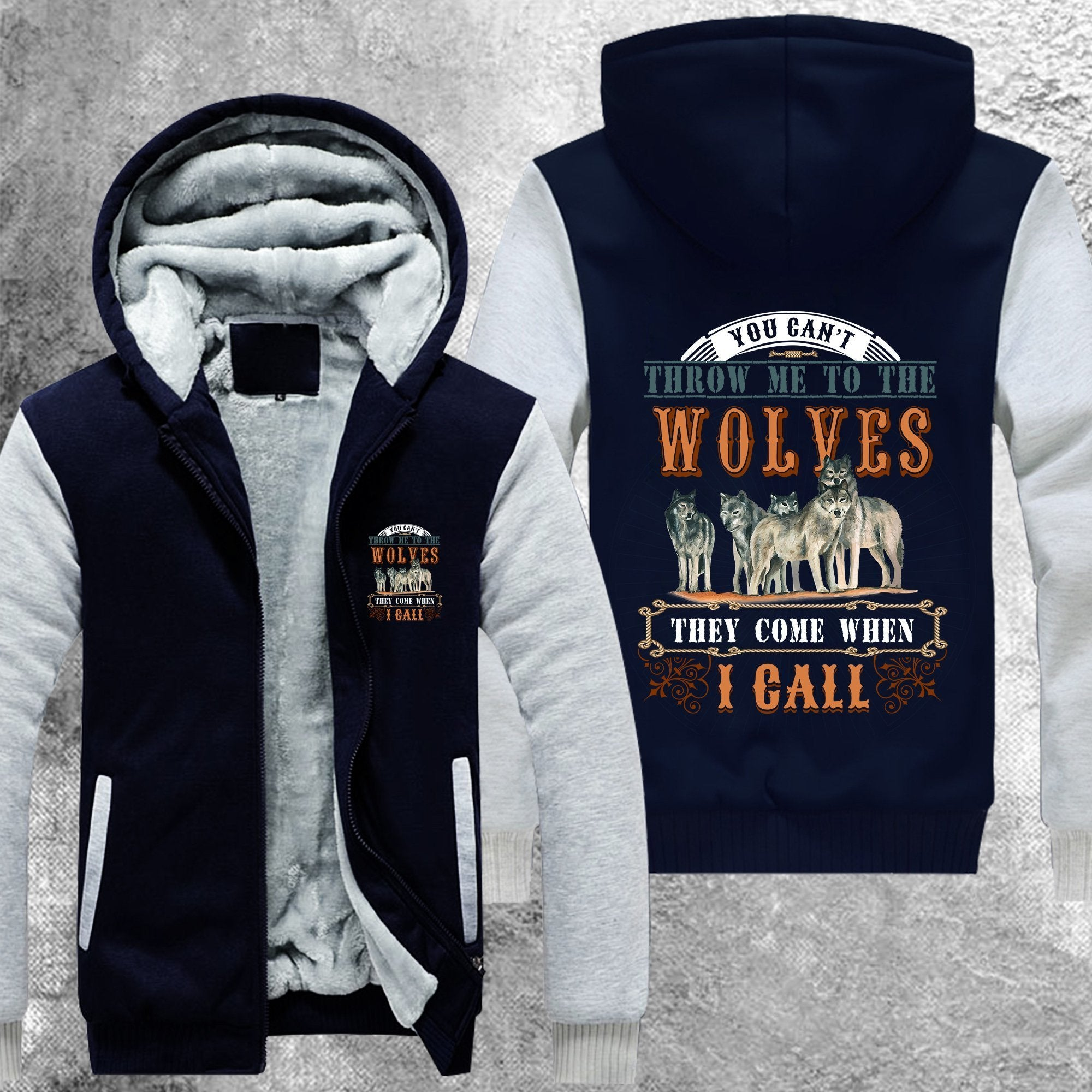 You Cant Throw Me To The Wolves Fleece Jacket Blue / S