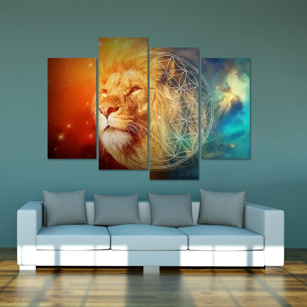 Hip Lion 4 Piece Canvas Small / No Frame Wall