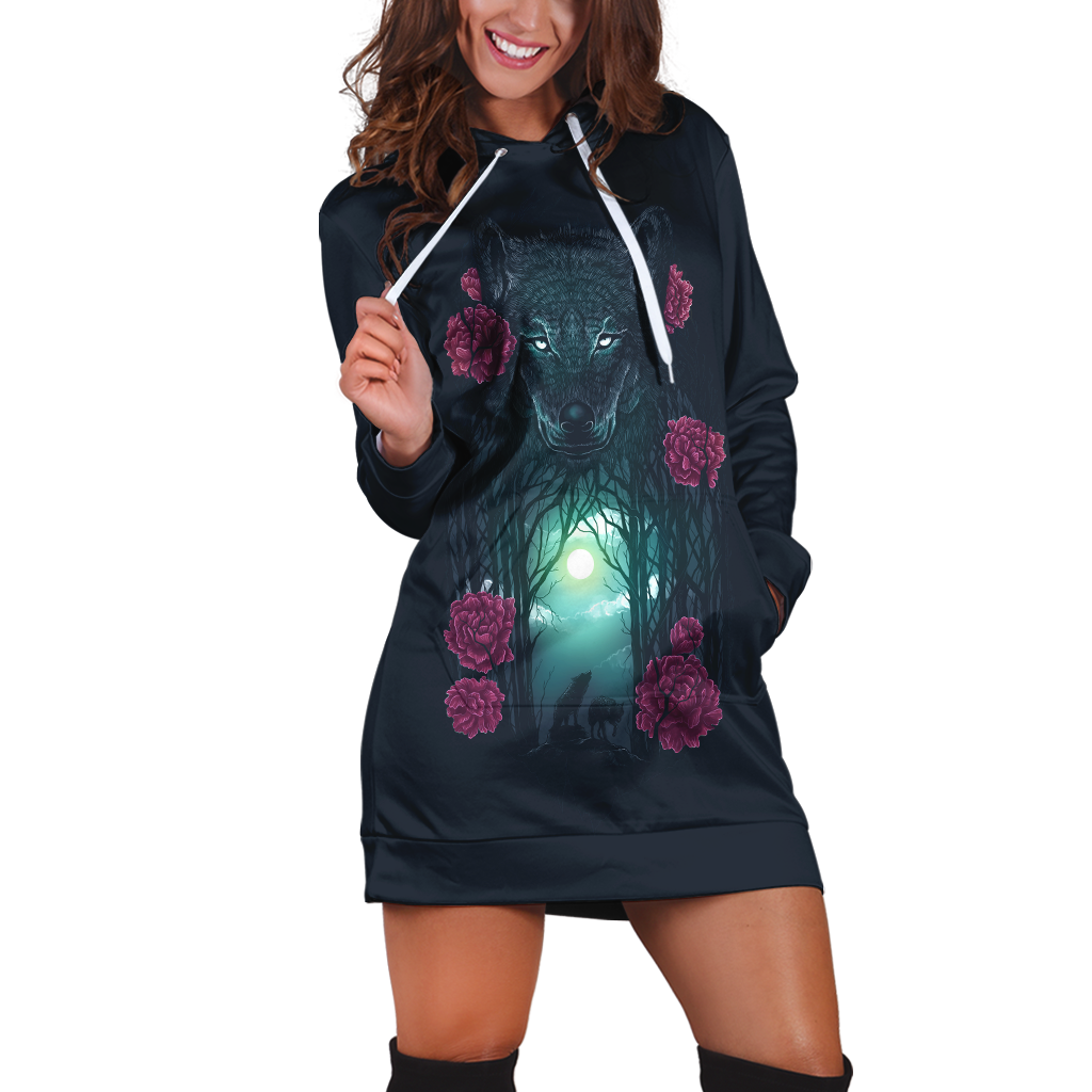 Running With Wolves Hoodie Dress Xs